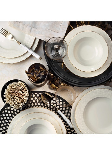 Kütahya Porselen Kütahya Porselen Bone Ecem 24 Parça Altın Fileli Yemek Seti Renkli